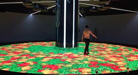 圆形互动LED地砖屏浙江诸暨规划馆120平米