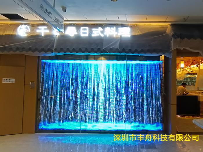 深圳龙岗万达日料店-10平方P3.91LED透明屏成功点亮