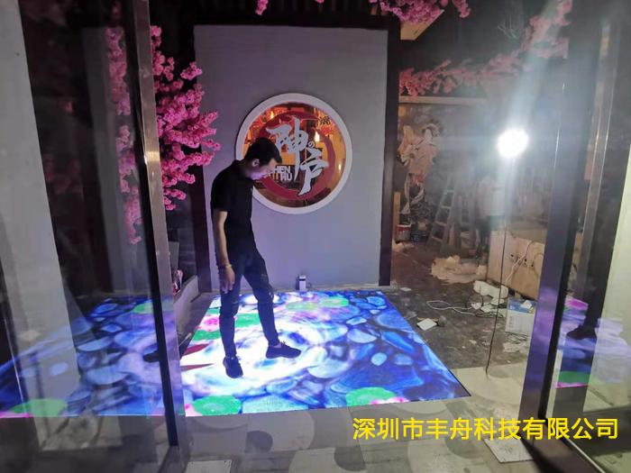 安徽宣城日料餐厅4平方P3.91LED互动地砖屏项目成功点亮